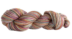 Skein of Manos del Uruguay Silk Blend Space-Dyed DK weight yarn in the color Wildflowers (Brown) for knitting and crocheting.