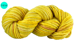 Skein of Manos del Uruguay Wool Clasica Space-Dyed Worsted weight yarn in the color Floral (Yellow) for knitting and crocheting.
