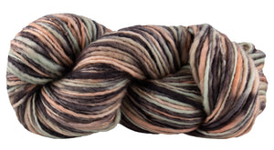 Skein of Manos del Uruguay Wool Clasica Space-Dyed Worsted weight yarn in the color Gondola (Brown) for knitting and crocheting.