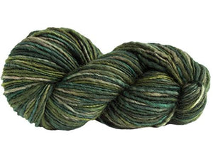 Skein of Manos del Uruguay Wool Clasica Space-Dyed Worsted weight yarn in the color Jungle (Green) for knitting and crocheting.