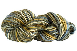 Skein of Manos del Uruguay Wool Clasica Space-Dyed Worsted weight yarn in the color Olivewood (Green) for knitting and crocheting.