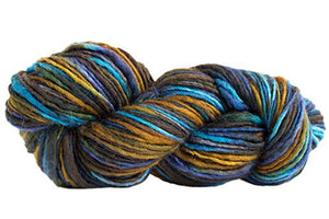 Skein of Manos del Uruguay Wool Clasica Space-Dyed Worsted weight yarn in the color Stellar (Blue) for knitting and crocheting.