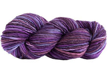 Load image into Gallery viewer, Skein of Manos del Uruguay Wool Clasica Space-Dyed Worsted weight yarn in the color Violets (Purple) for knitting and crocheting.
