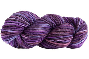 Skein of Manos del Uruguay Wool Clasica Space-Dyed Worsted weight yarn in the color Violets (Purple) for knitting and crocheting.