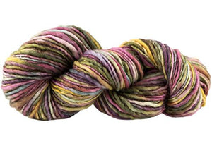 Skein of Manos del Uruguay Wool Clasica Space-Dyed Worsted weight yarn in the color Wildflowers (Multi) for knitting and crocheting.