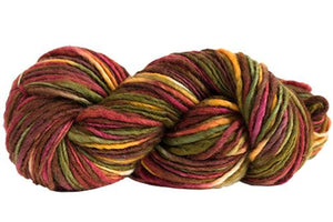 Skein of Manos del Uruguay Wool Clasica Space-Dyed Worsted weight yarn in the color Woodland (Brown) for knitting and crocheting.