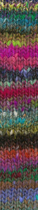 Skein of Noro Ito Worsted weight yarn in the color Zama (Multi) for knitting and crocheting.