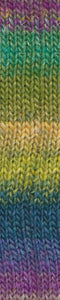 Skein of Noro Silk Garden Sock Sock weight yarn in the color Yaizu (Multi) for knitting and crocheting.