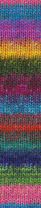 Skein of Noro Silk Garden Worsted weight yarn in the color Noshiro (Multi) for knitting and crocheting.