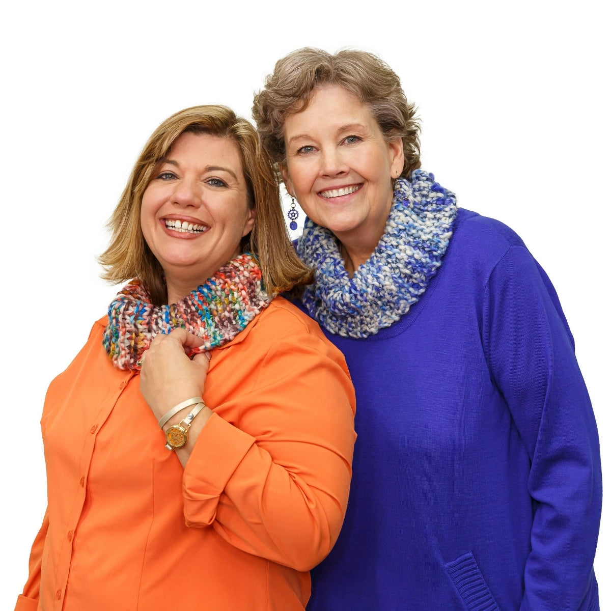 Jenny Fish and Jenny Doan model the One Big Happy Yarn Co Cowl in colors Park (multi) and Coast (blue multi).