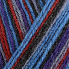 Load image into Gallery viewer, Skein of Regia 4-Ply Kaffe Fassett Design Line Color Sock weight yarn in the color Blue Velvet (Multi) for knitting and crocheting.