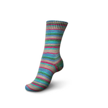 Load image into Gallery viewer, Knitted sock made of Regia 4-Ply Kaffe Fassett Design Line Color Sock weight yarn in the color Cool (Multi).