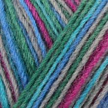 Load image into Gallery viewer, Skein of Regia 4-Ply Kaffe Fassett Design Line Color Sock weight yarn in the color Cool (Multi) for knitting and crocheting.