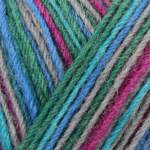 Skein of Regia 4-Ply Kaffe Fassett Design Line Color Sock weight yarn in the color Cool (Multi) for knitting and crocheting.