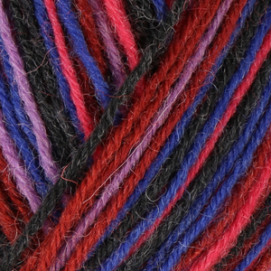 Skein of Regia 4-Ply Kaffe Fassett Design Line Color Sock weight yarn in the color Smolder (Multi) for knitting and crocheting.