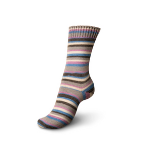 Knitted sock made of Regia 4-Ply Kaffe Fassett Design Line Color Sock weight yarn in the color Zebra (Multi).
