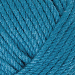 Skein of Rowan Handknit Cotton DK weight yarn in the color Atlantic (Blue) for knitting and crocheting.