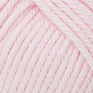 Skein of Rowan Handknit Cotton DK weight yarn in the color Ballet Pink (Pink) for knitting and crocheting.