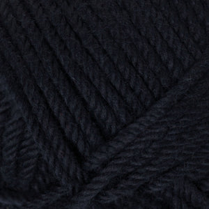 Skein of Rowan Handknit Cotton DK weight yarn in the color Black (Black) for knitting and crocheting.