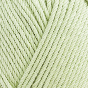 Skein of Rowan Handknit Cotton DK weight yarn in the color Celery (Green) for knitting and crocheting.