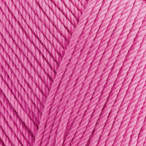 Skein of Rowan Handknit Cotton DK weight yarn in the color Flamingo (Pink) for knitting and crocheting.