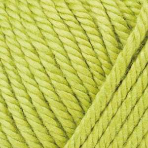 Skein of Rowan Handknit Cotton DK weight yarn in the color Gooseberry (Green) for knitting and crocheting.