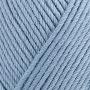 Skein of Rowan Handknit Cotton DK weight yarn in the color Icewater (Blue) for knitting and crocheting.