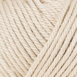 Skein of Rowan Handknit Cotton DK weight yarn in the color Linen (Tan) for knitting and crocheting.