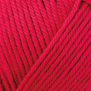 Skein of Rowan Handknit Cotton DK weight yarn in the color Rosso (Red) for knitting and crocheting.