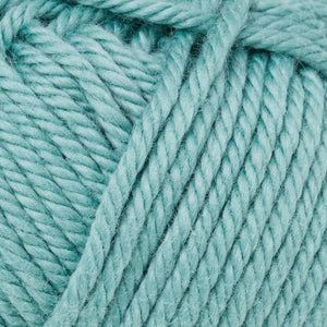 Skein of Rowan Handknit Cotton DK weight yarn in the color Seafoam (Blue) for knitting and crocheting.