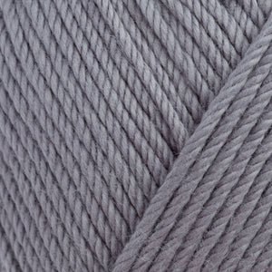 Skein of Rowan Handknit Cotton DK weight yarn in the color Slate (Gray) for knitting and crocheting.