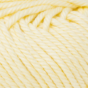 Skein of Rowan Handknit Cotton DK weight yarn in the color Sunshine (Yellow) for knitting and crocheting.