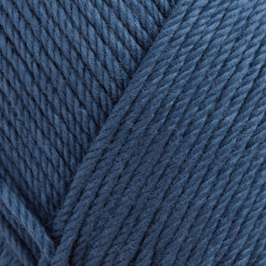 Skein of Rowan Handknit Cotton DK weight yarn in the color Thunder (Blue) for knitting and crocheting.