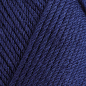 Skein of Rowan Handknit Cotton DK weight yarn in the color Turkish Plum (Blue) for knitting and crocheting.