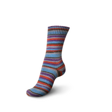 Load image into Gallery viewer, Knitted sock made of Regia 4-Ply Kaffe Fassett Design Line Color Sock weight yarn in the color Blue Velvet (Multi).