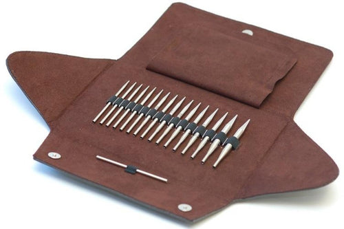 A beautiful set of Addi Roket Click Tip Short Interchangeable Knitting needles in multiple sizes and a case to keep them organized.