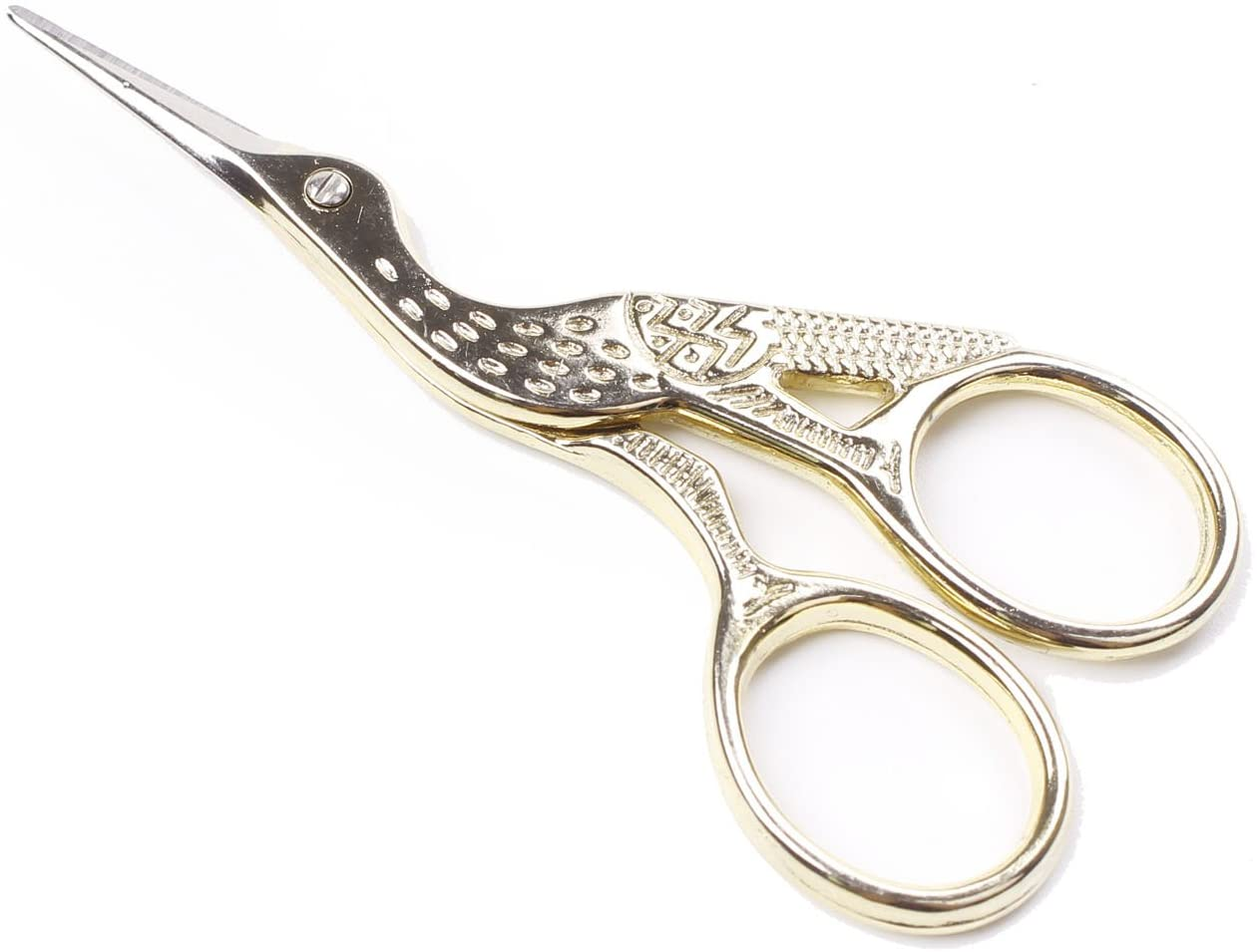 Stainless steel Stork-shaped Scissors for cutting yarn while knitting or crocheting.