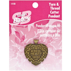 Susan Bates Heart-Shaped Wearable Thread Cutter Pendant in packaging.