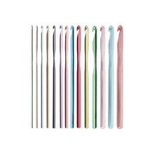 Load image into Gallery viewer, 14 different sizes and colors of Silvalume Aluminum Crochet Hooks