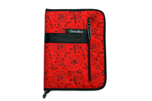 Red carrying case containing a set of  ChiaoGooT-Spin Interchangeable Tunisian Crochet Hooks for crocheting.