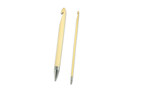 Two bamboo Chaigoo crochet hooks from the Set of T-Spin Interchangeable Tunisian Crochet Hooks