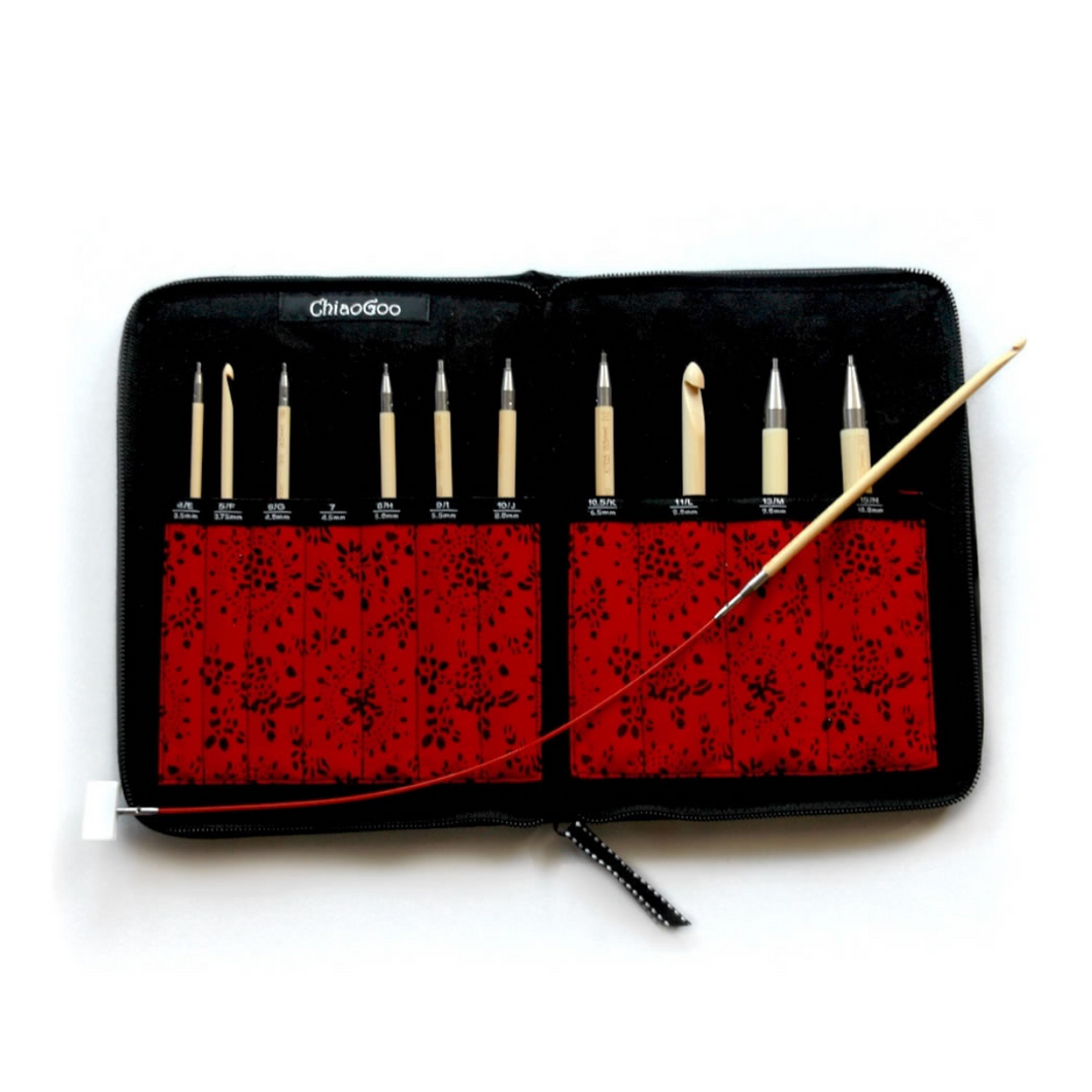 Set of ChaioGoo T-Spin Interchangeable Tunisian Crochet Hooks in red carrying case.
