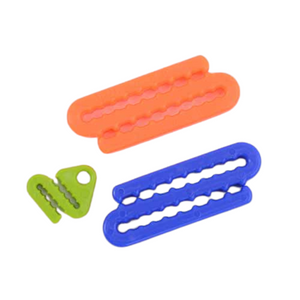Set of 3 plastic knitting needle holders by the Tempestry Project.