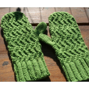 Beautiful mittens knitted with Cascade  Superwash-Sport yarn and a pattern from the Zig Zag Mittens Knit Kit.