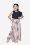 Navy Ruffle Top with polka tulip palazzo pant Set