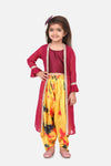 Lilpicks wine crop top printed Dhoti with georgette jacket set