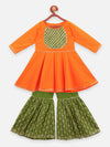 Lilpicks Orange Gota Peplum Kurta with Flared Sharara Set