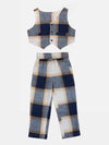 Lilpicks Dark Blue Check Waistcoat with Pant Set