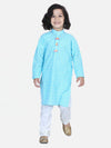 Lilpicks Bright Blue White Thread Chikankari Pyjama Set