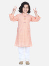 Lilpicks Peach White Thread Chikankari Kurta Pyjama Set